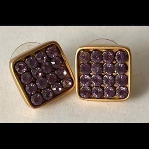 Swarovski purple square post earrings gold color